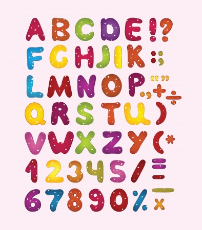 Colorful latin letters, numbers and punctuation marks. Ilustração