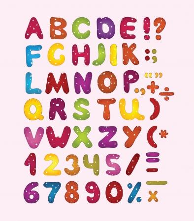 Kleurrijke latin letters, cijfers en leestekens.
