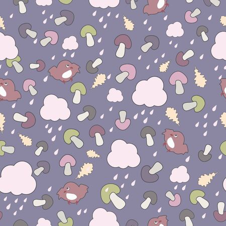 Cute colorful seamless pattern with clouds, birds and mushrooms  Autumn theme