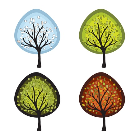 Four season trees.  Vector