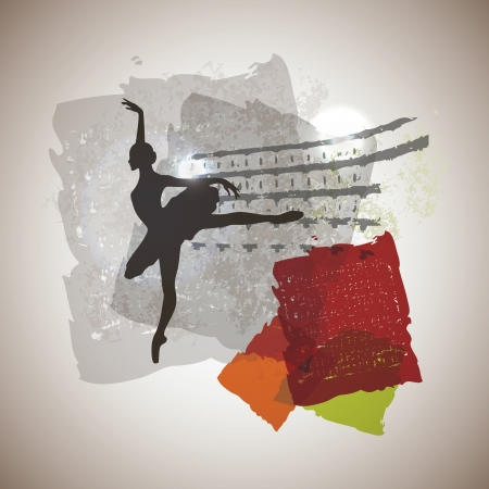 classical ballerina on magic background.  Vector
