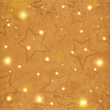 Abstract grunge textured festive background with shiny stars.