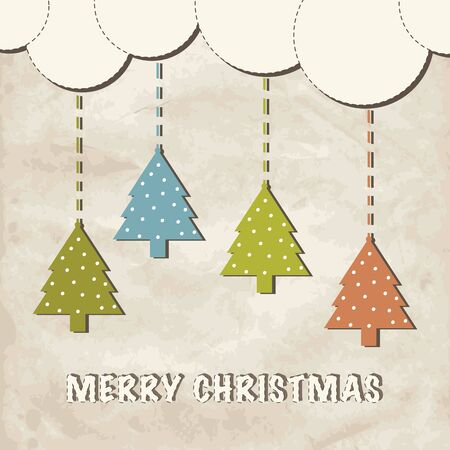 Cute vintage christmas greeting card.  Vector