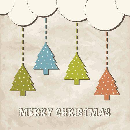 Cute vintage christmas greeting card. Stock Vector - 16017709