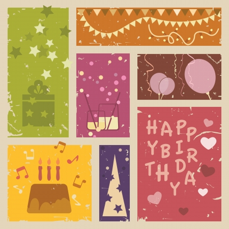 cake background: Retro Happy birthday background  Vector illustration Illustration
