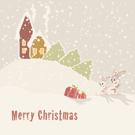 Cute Christmas greeting card with cartoon bunnies  Vector illustration Vector