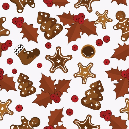 Colorful christmas seamless pattern with holly berries and homemade Gingerbread cookies. Vector illustration. May be used as wrapping paper for gifts. Vector