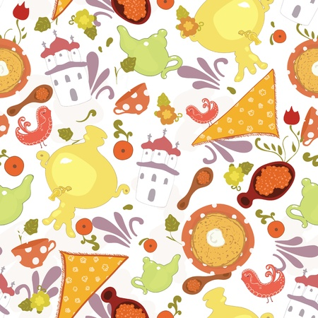 Russian culture elements - ornaments, pancakes, food, drink and clothes - vector seamless pattern