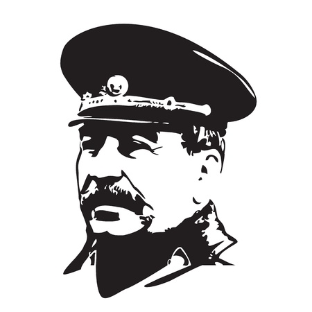 portrait of Joseph Stalin in black and white