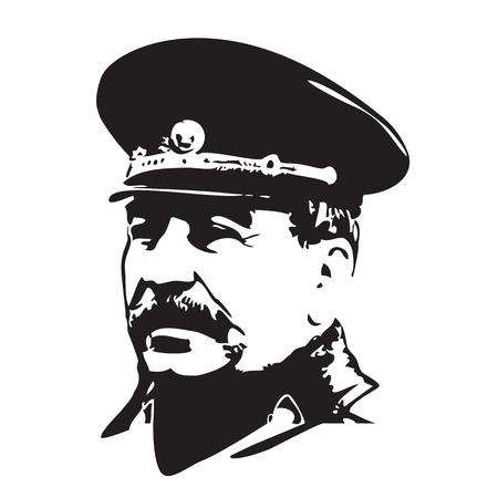 portrait of Joseph Stalin in black and white