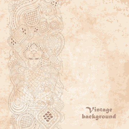 Vintage ornamental frame on grunge paper background.  illustration Illustration
