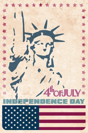 Statue of Liberty on grungy background. USA Independence day vintage card.  Ilustração