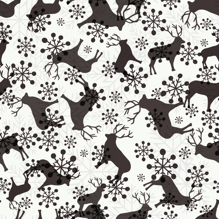 Christmas seamless pattern with deers and snowflakes for gift wrapping paper  Vector illustration
