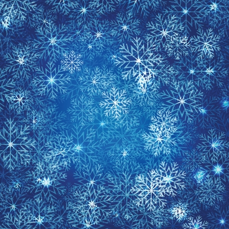 Christmas background in blue dark with magic lights and snowflakes Illustration