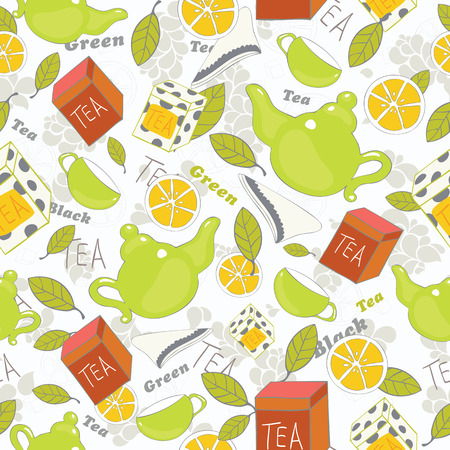 Tea background  Vector seamless pattern Illustration