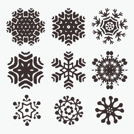 Set of cool hand drown vector snowflakes  Elements for your christmas design