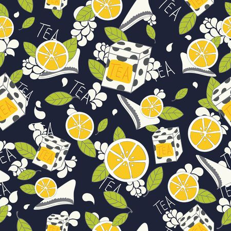 Seamless tea pattern  Tea leaves, lemon tiles, tea boxes on dark blue backgrounds  Vector Illustration