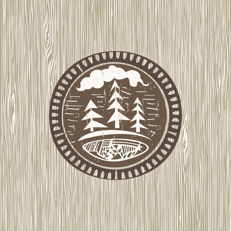 Hand drown illustration with nature elements on wood background Vector