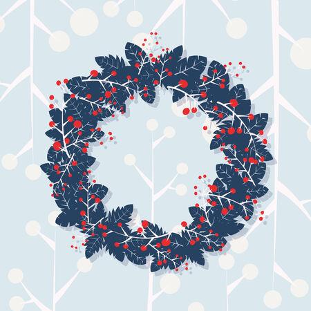 Christmas wreath on retro wallpaper Illustration