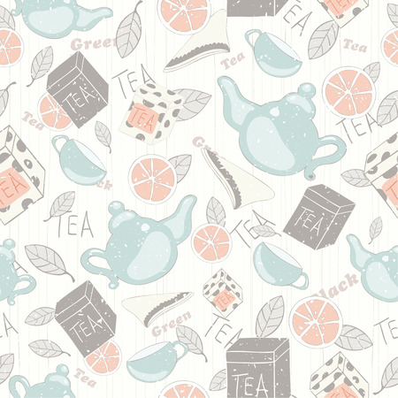 Vintage vector pattern with teapots, tea cups, tea boxs and lemons