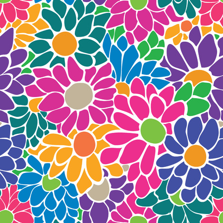 Seamless floral pattern with big bright flowers  Spring-summer background