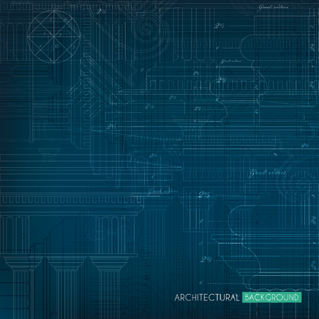 architectural elements: Abstract blue-print background with greek ionic architectural elements