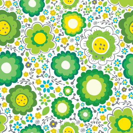 Ornate seamless pattern with green flowers Vector