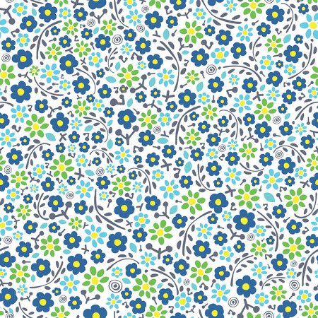 Seamless vector floral pattern on white background