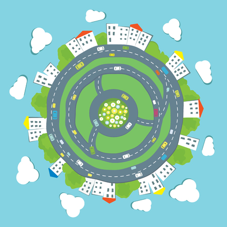 Cartoon city panorama. Vector illustration