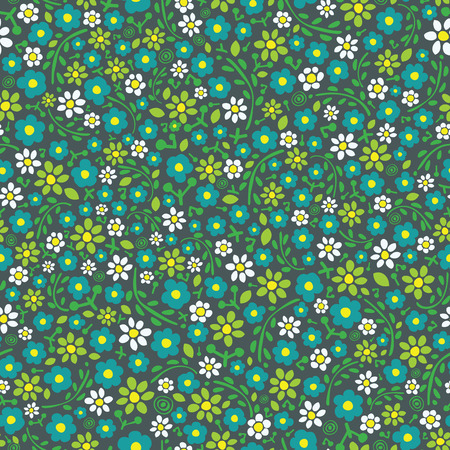 Seamless floral pattern  Little flowers on dark background  Vector illustration