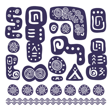 Abstract Aztec ornamental design element set