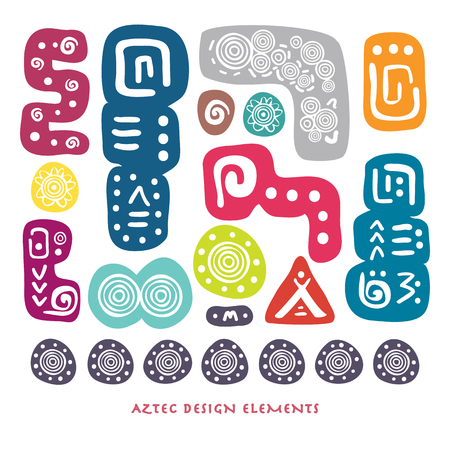 Abstract Aztec colourful element set for cool design