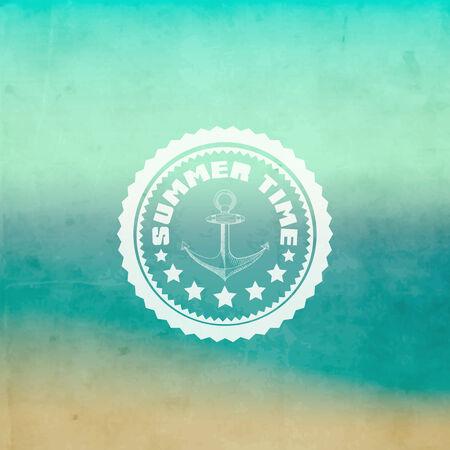 Retro summer background with label design. Vector illustration