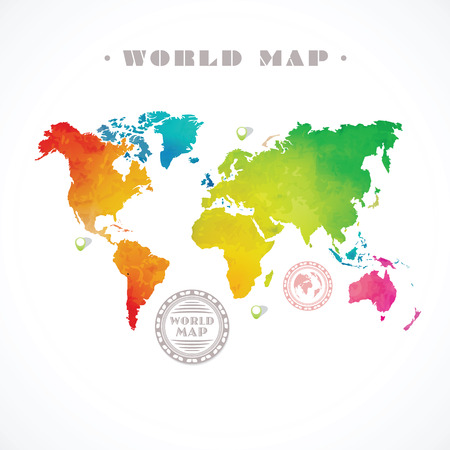 south east: Vector water-colour world map and info graphic elements on white background