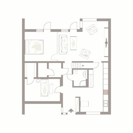 Arrière-plan architectural dessin vectoriel de plan de construction de meubles sur fond blanc