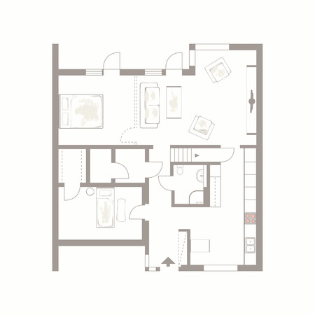 Architectural background  Vector drawing of building plan with furniture on white background