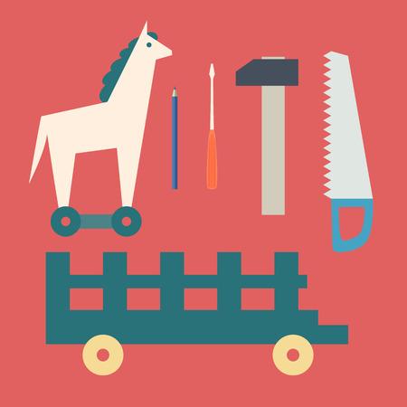 Caballo de juguete y herramientas de madera de la vendimia. Diseño plano vectorial Foto de archivo - 29880129