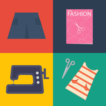 sawing: Clothes and sawing kit. Flat retro design. Vector illustration