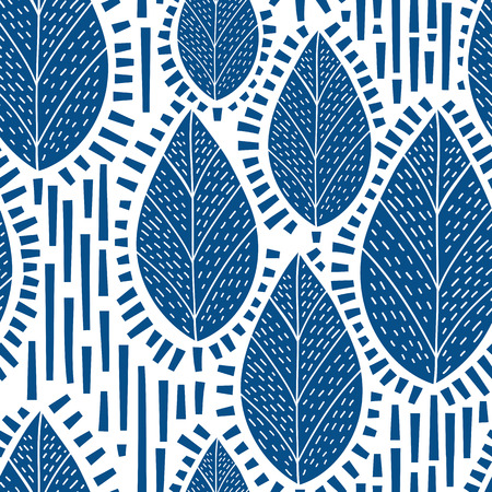 Decorative seamless pattern with leafs and trees. Can be used for interior print and wallpaper, textile design, wrapping paper. Vector illustration Vettoriali