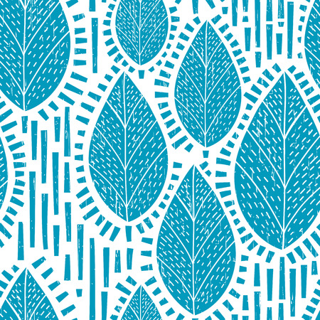 Seamless retro tree and leaf pattern with scratch texture. vector Illustration