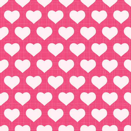 Seamless heart pattern. White hearts on pink textured background Vector