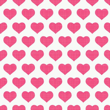 Seamless heart textured retro pattern. Vector illustration Vector