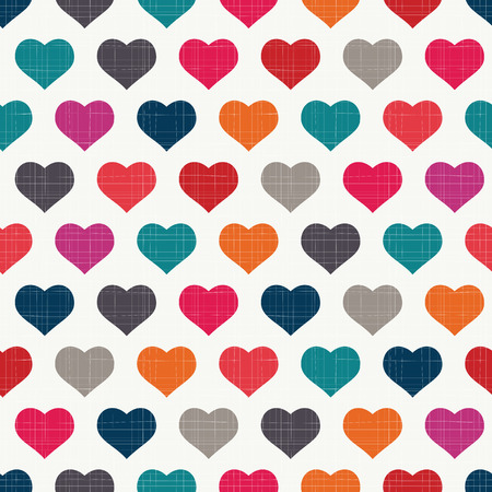 Party-colored hearts pattern with retro texture Illustration