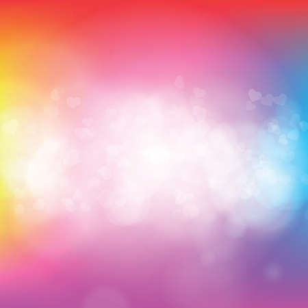 Abstract spring background with bokeh blurred lights and transparent hearts