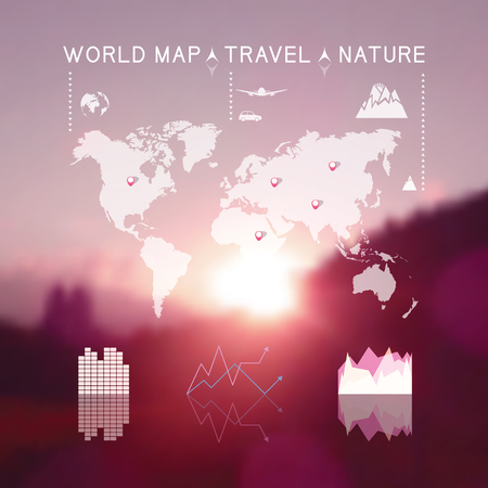 Beautiful blurred natural landscape with travel info graphic elements. web and mobile interface background. Blurred mountains at sunset. Vector illustration Illustration