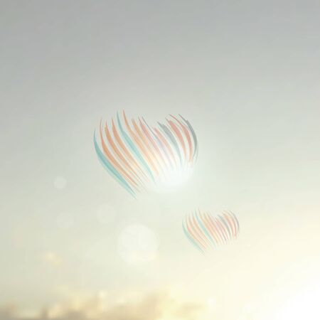Vector soft blurred sky background with bokeh lights and heart shapes. Retro romantic background