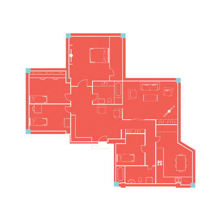 Architectural background drawing of building plan with furniture in retro red and blue