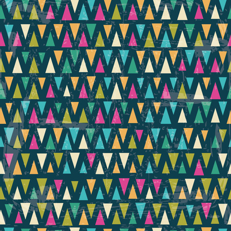 Seamless vector geometric pattern. Colorful triangles on dark blue background