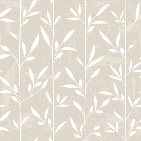 グランジ テクスチャとのシームレスな葉のパターン。ベクトル イラスト