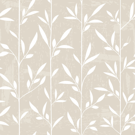 Seamless leaf pattern with grunge texture. Vector illustration